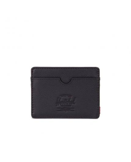 Herschel Charlie Tarjetero Cartera Black Pebbled Leather/RFID