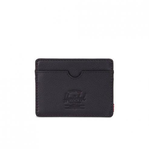 Herschel Charlie Tarjetero Cartera Black Pebbled Leather/RFID