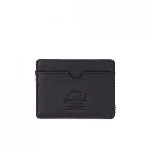 Herschel Charlie Black Pebbled Leather/RFID Card Wallet