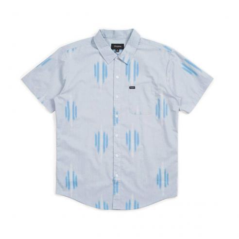Camisa Brixton Charter Print S/S Azul claro y blanco