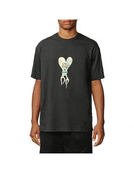 Globe Dead Kooks Flame Heart Washed Black T-shirt