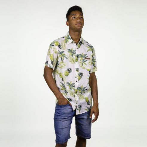 Camisa Hydroponic Makahiki White Tropical