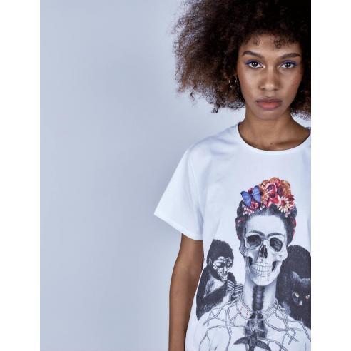 Camiseta Le Crane Frida Skull Blanco