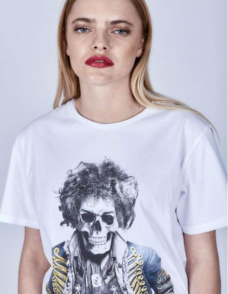 Camiseta Le Crane Hendrix Skull White