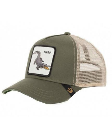 Goorin Bros Snap At Ya Olive Animal Farm Trucker Cat