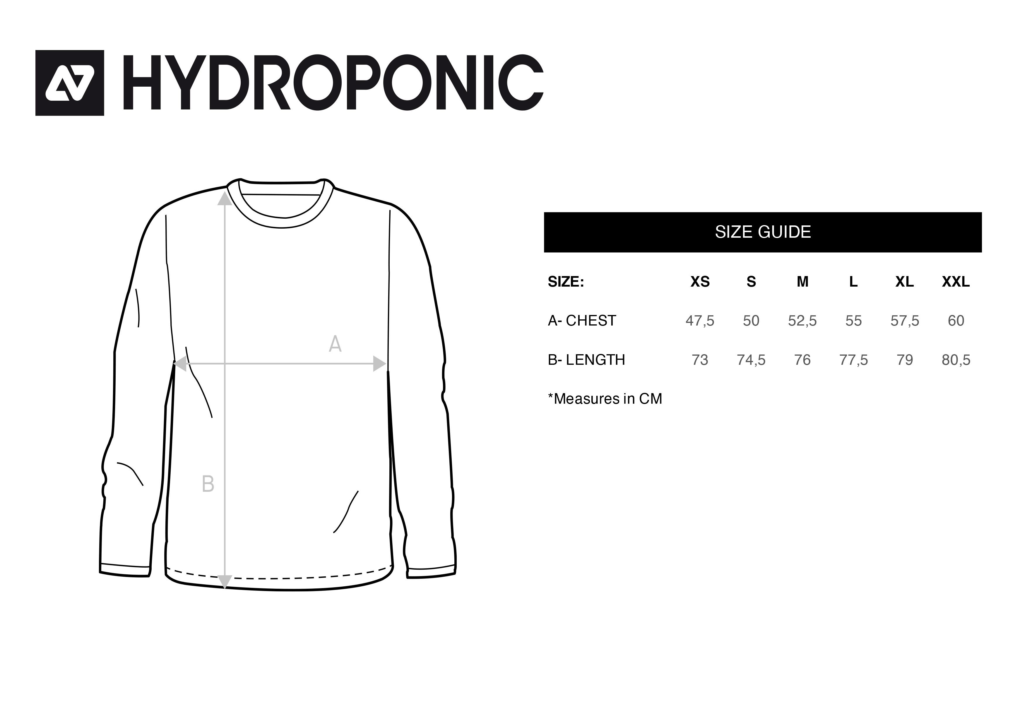 tallas camisetas manga larga hydroponic