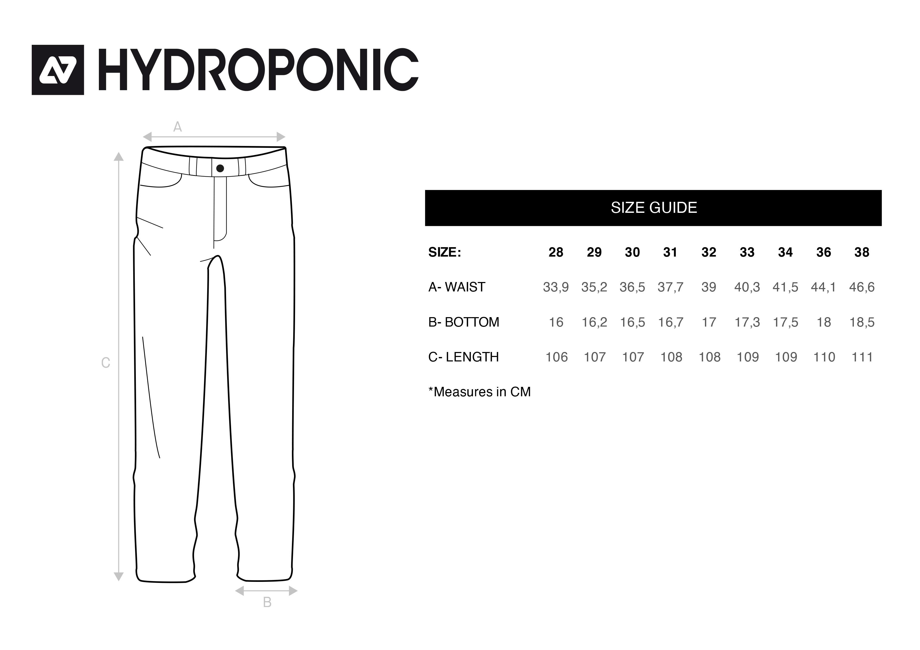 tallas pantalones hydroponic